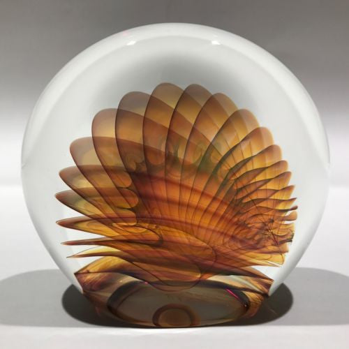 Signed Michael O'Keefe Art Glass Paperweight Delicate Veiled Fan Sculpture
