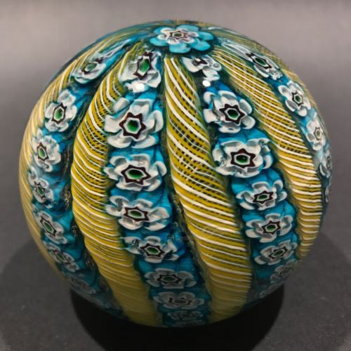 Vintage Murano Art Glass Paperweight Alternating Yellow Twist & Blue Millefiori Crown