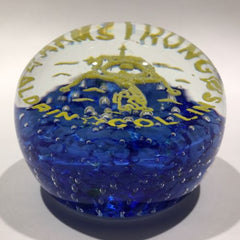 Vintage John Gentile Art Glass Paperweight Moon Landing Armstrong Aldrin Collins
