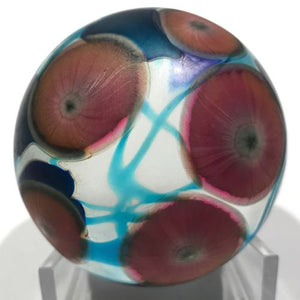 Signed David Lotton Art Glass Paperweight Iridescent Vines With Millefiori
