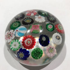 Antique Clichy Art Glass Paperweight Spaced Complex Millefiori W/ Rose Canes