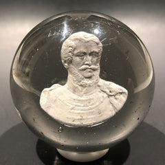 Antique New England Glass Co. Art Glass Paperweight Lajos Kossuth Sulphide