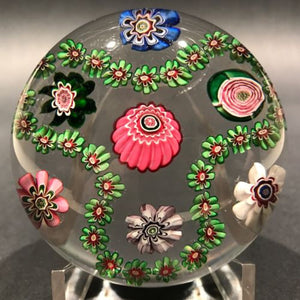 Antique Clichy Art Glass Paperweight Complex Millefiori Garland w/ Rose Cane