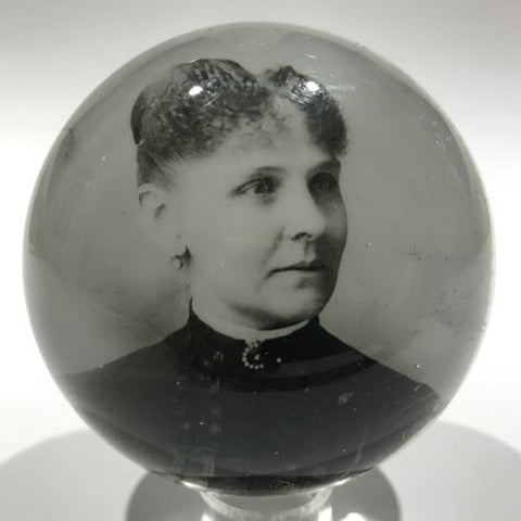 Antique American Graeser? Art Glass Paperweight Woman Photo Plaque