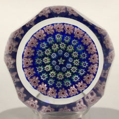 Vintage J Glass Deacons Faceted Art Glass Paperweight Concentric Millefiori