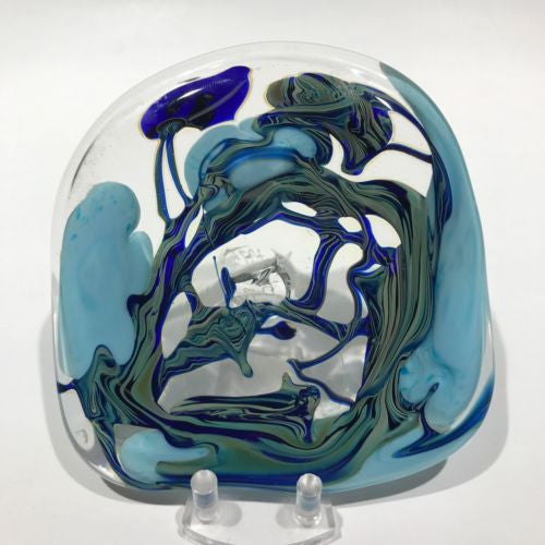Signed David Lotton Art Glass Paperweight Test / Sample Piece Blue & Green Vines