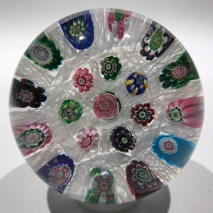 Antique Clichy Art Glass Paperweight Complex Chequered Millefiori W/ Rose Cane