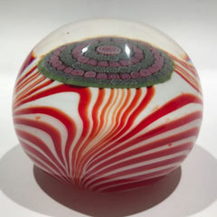 Galliano Ferro Murano Art Glass Paperweight Marbrie with Millefiori