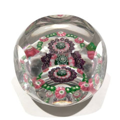 Antique Clichy Faceted Art Glass Paperweight Concentric Millefiori w/ 12 Roses