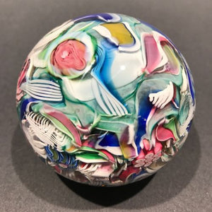 Vintage Cape Cod Burchfield Art Glass Paperweight Millefiori Twist Scramble