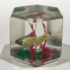Vintage Chinese Art Glass Paperweight Painted Sulphide Birds in a Tree