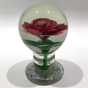 Vintage Chinese Art Glass Paperweight Large Footed Peony Crimp Rose Pedestal