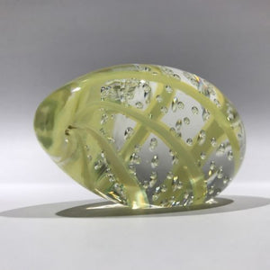 Vintage Murano Art Glass Paperweight Yellow Streamer Easter Egg