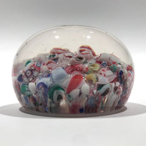 Antique New England Glass Co. NEGC Millefiori Scramble Art Glass Paperweight