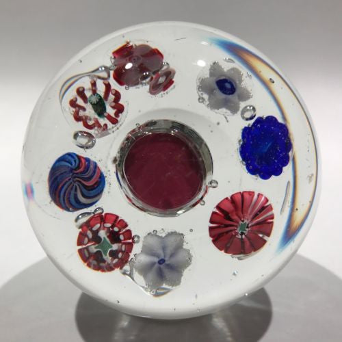 Antique Val St Lambert Art Glass Paperweight Millefiori with Rare Encased Coin