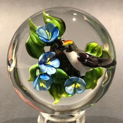 Signed Rick Ayotte Lampwork Art Glass Paperweight Bird with Blue Flowers