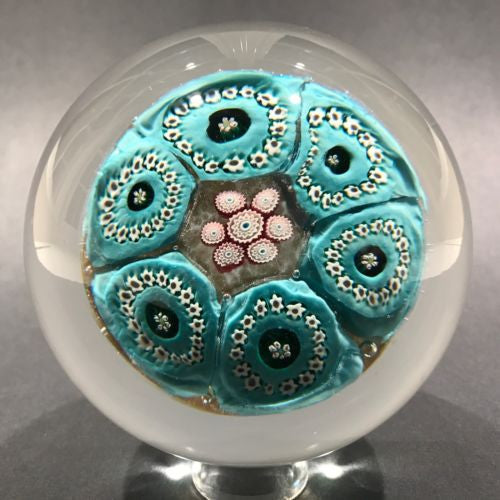 Large Vintage Murano Art Glass Paperweight Complex Blue Flower Millefiori