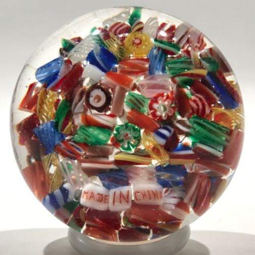 Early Chinese Art Glass Paperweight Millefiori Scramble W/ Made In China Murrine