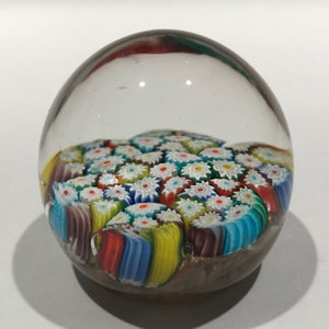 Vintage Murano Art Glass Paperweight Colorful Complex Millefiori on Aventurine