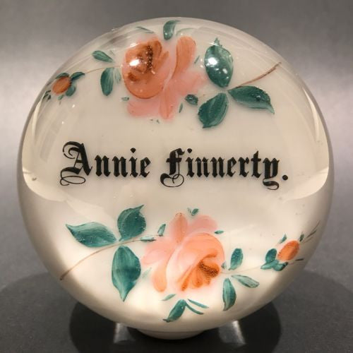 Antique Albert Graeser Art Glass Paperweight Hand painted Rose Name Plaque