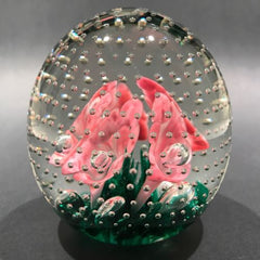 Vintage St Clair? Pink Trumpet Flowers in the Rain Art Glass Paperweight