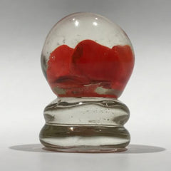 Vintage Miniature American? Art Glass Paperweight Footed Red Crimp Rose