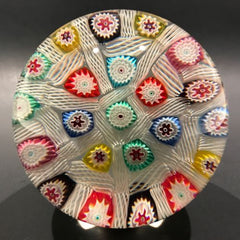 Rare Murano Art Glass Paperweight Chequered Spaced Millefiori