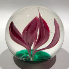 Vintage American Elwood Indiana Art Glass Paperweight Crimp Style Pink Tulip