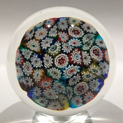 Large Vintage Murano Art Glass Paperweight Complex Millefiori on Aventurine