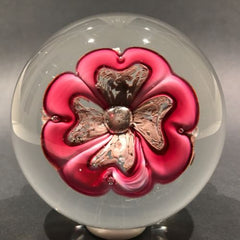 Large Vintage Murano Art Glass Footed Paperweight Large Upright Pink Flower