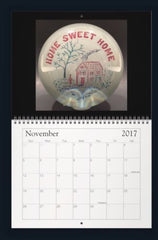 LIMITED EDITION 2017 ANTIQUE ART GLASS PAPERWEIGHT WALL CALENDAR