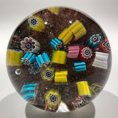 Vintage Murano Art Glass Paperweight Jumbled Millefiori Scramble on Aventurine
