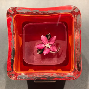 Signed European Art Glass Paperweight Lampworked Flower & Nested Overlays