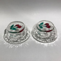 Alfredo Barbini Art Glass Paperweight Style Dessert Bowls Lampworked Cherries