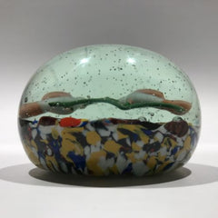 Antique German Thuringian Art Glass Paperweight Lampworked Birds & Millefiori
