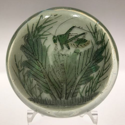 Antique Chinese Paint White Ground Art Glass Paperweight Cricket in Foliage