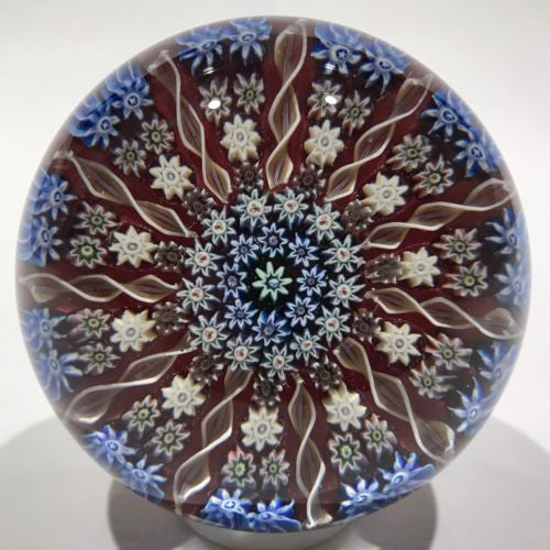 Vintage Perthshire 11 Spoke Art Glass Paperweight Millefiroir & Twists