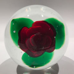 Rare Vintage Murano Art Glass Paperweight Ruby Red Crimp Rose