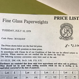 Christie's July 10, 1979 Auction Catalogue Of Fine Glass Paperweights