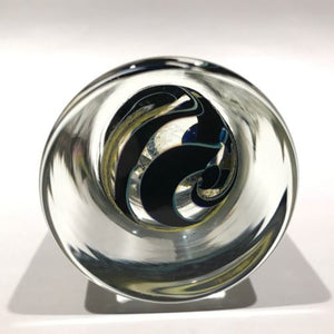 Signed John Lotton Art Glass Paperweight Encased Cylindrical Modern Design