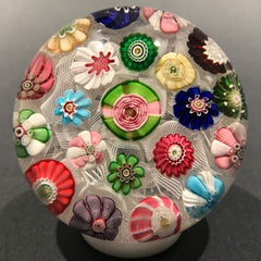 Antique Clichy Art Glass Paperweight Complex Millefiori on Lace with Yellow Rose