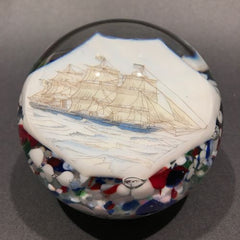 Vintage American Thomas Mosser Art Glass Paperweight Encased Pirate Ship Plaque