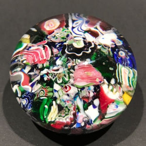 Antique Clichy Miniature Art Glass Paperweight Millefiori Scramble W/ Rose Canes
