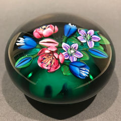 Signed Ken Rosenfeld Art Glass Paperweight Lampworked Floral Bouquet on Green