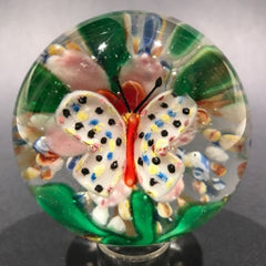 Old Chinese Lampwork Art Glass Paperweight Hovering Butterfly at Pink Flower