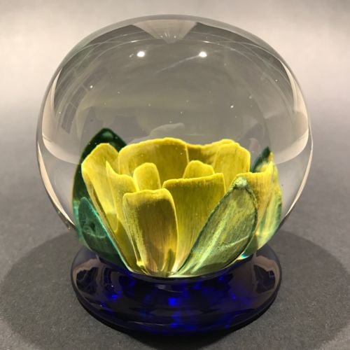 Signed Robert Mason Pairpoint Footed Yellow Crimp Rose Art Glass Paperweight