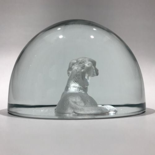 Vintage Intaglio Dog Art Glass Paperweight High Quality Unknown Maker