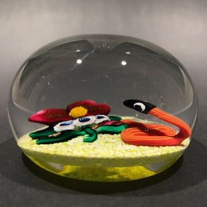 Signed Charles Kaziun Jr. Art Glass Paperweight Snake W/ Pansy & Gold Bee