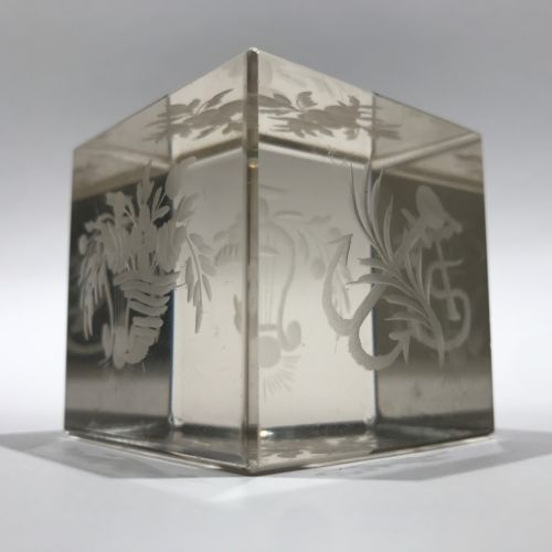 Rare Antique Bohemian Art Glass Paperweight Hand etched Clear Cube