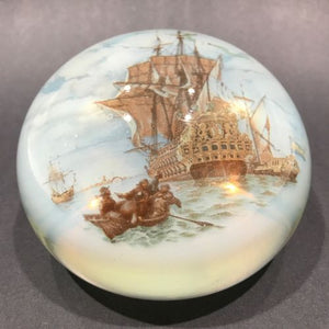 "Huge 4"" Vintage Murano Encased Pirate Ship Nautical Boat Art Glass Paperweight"